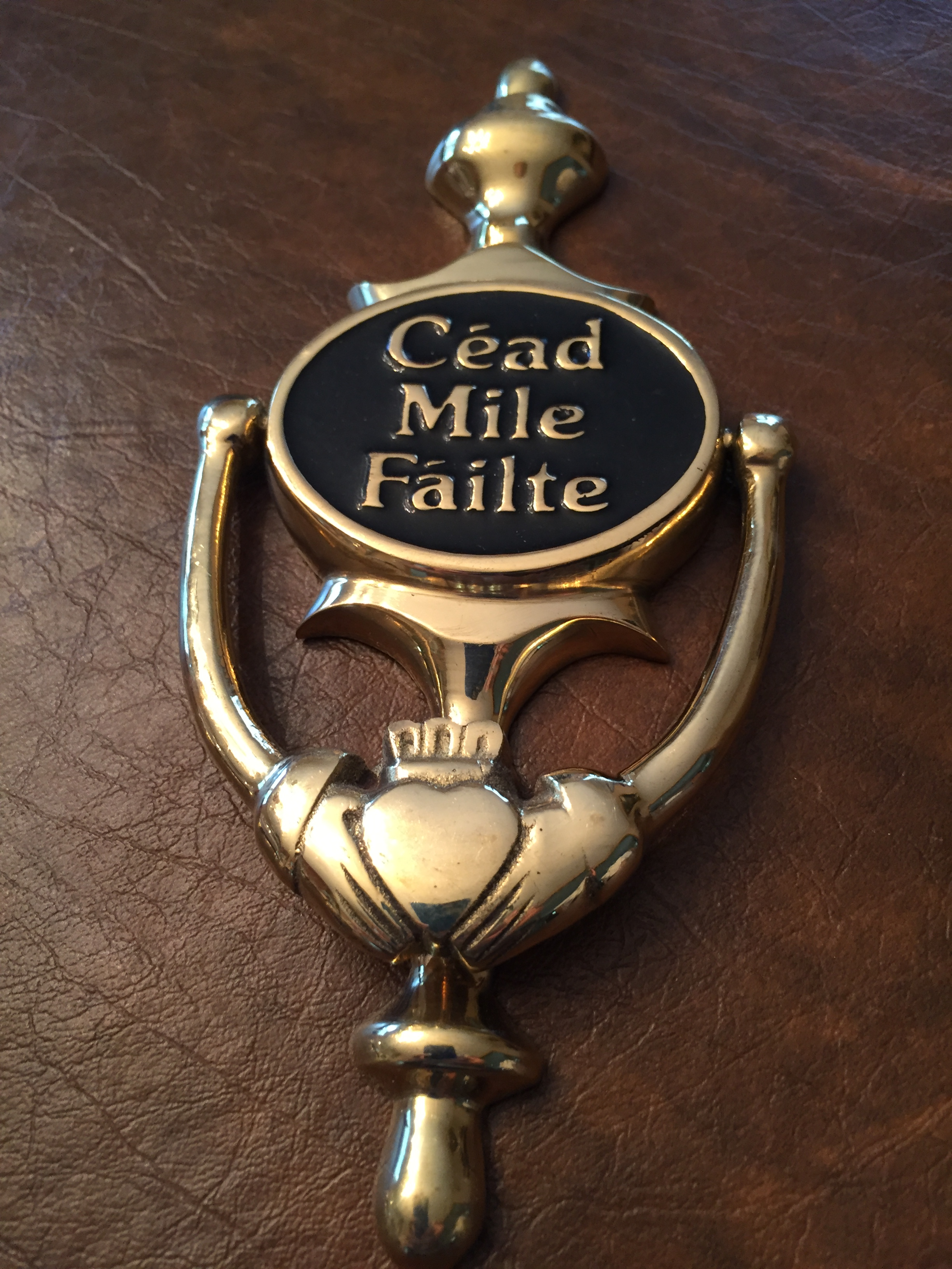 Picture of: Brass Claddagh Door Knocker Cead Mile Failte Nayancorporation Com
