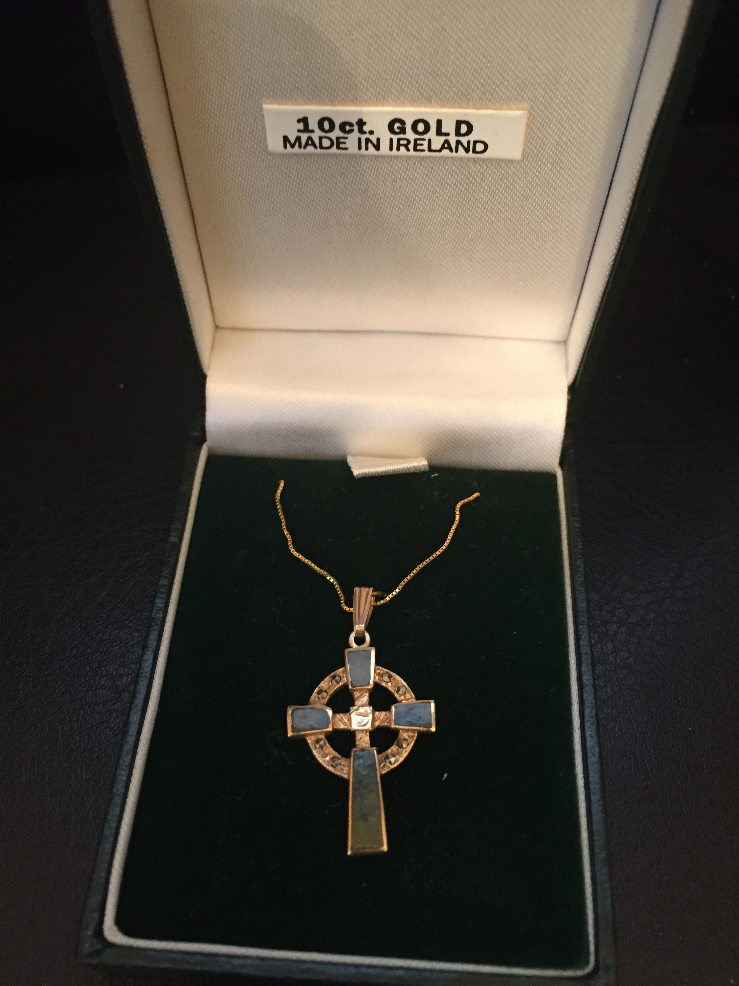 Celtic Cross Necklace With Connemara Marble 10k Gold